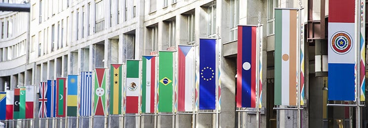 International flags on building